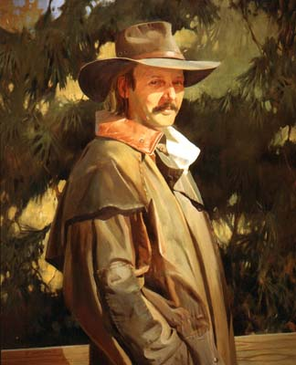 Man in Wide-brimmed hat and Oilskin Coat