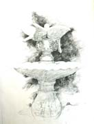 Ink drawing of fountain